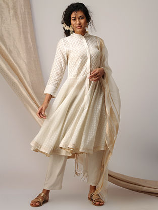 Ivory Silk Cotton Cutwork Kurta with Zari Border