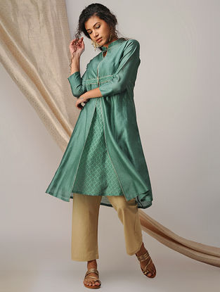 Green Silk Cotton Cutwork and Chanderi Kurta with Zari Detail