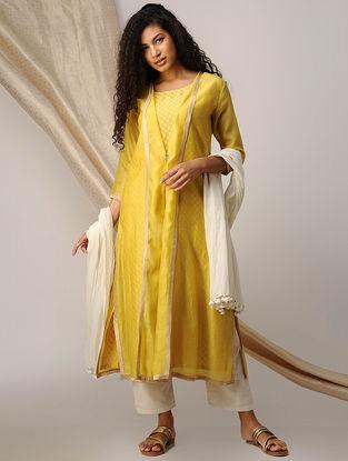 Yellow Silk Cotton Cutwork Kurta with Chanderi Jacket (Set of 2)