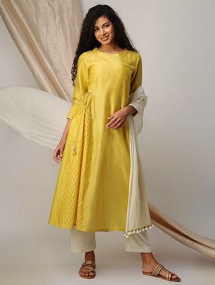 Yellow Silk Cotton Cutwork and Chanderi Kurta with Zari Detail