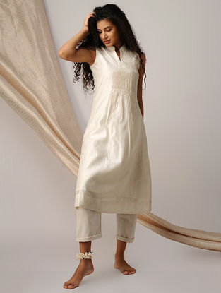 Ivory Pleated Chanderi Kurta