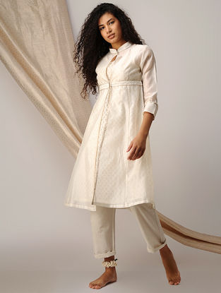 Ivory Silk Cotton Cutwork and Chanderi Kurta with Zari Detail