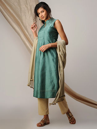 Green Pleated Chanderi Kurta