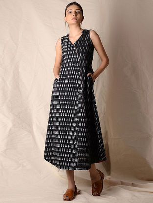 Black-Ivory Ikat Cotton Dress by Jaypore