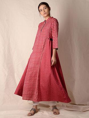 Red-Ivory Ikat Cotton Kurta by Jaypore