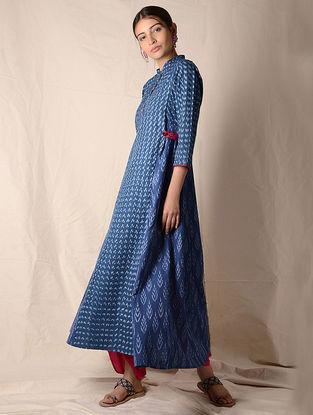 Indigo-Ivory Ikat Cotton Kurta by Jaypore