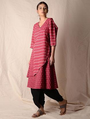 Pink-Ivory Ikat Cotton Angrakha by Jaypore