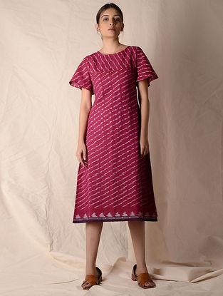 Pink-Ivory Ikat Cotton Dress by Jaypore