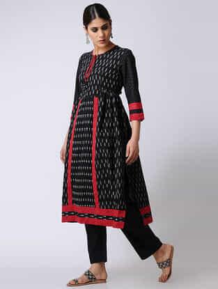 Black-Red Ikat Cotton Kurta by Jaypore