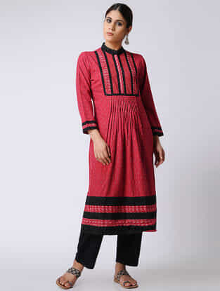 Red-Black Ikat Cotton Kurta by Jaypore