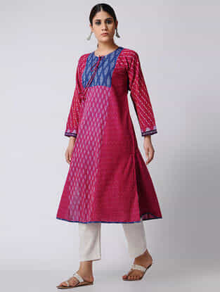 Pink-Blue Ikat Cotton Kurta by Jaypore