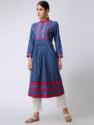 Blue-Pink Ikat Cotton Kurta by Jaypore