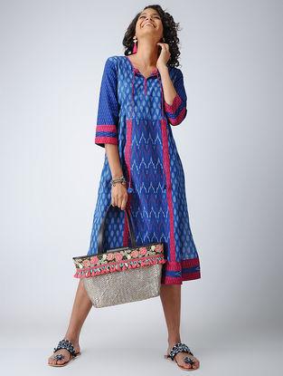 Blue-Pink Ikat Cotton Kurta