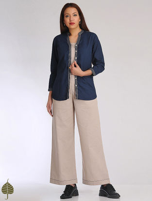 Blue-Beige Linen Cotton Jacket and Inner by Jaypore (Set of 2)