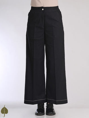 Black Elasticated Waist Linen Cotton Trousers by Jaypore