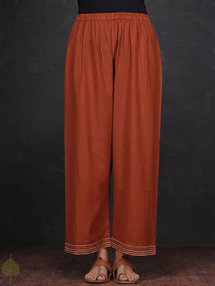 Madder Elasticated Waist Cotton Palazzos with Zari-embroidered Hem by Jaypore