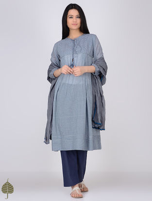 Blue-White Handloom Khadi Kurta by Jaypore