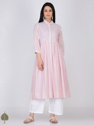 Ivory-Pink Handloom Khadi Jacket with Dress by Jaypore (Set of 2)