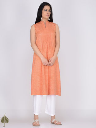 Orange Pintuck Handloom Khadi Kurta by Jaypore