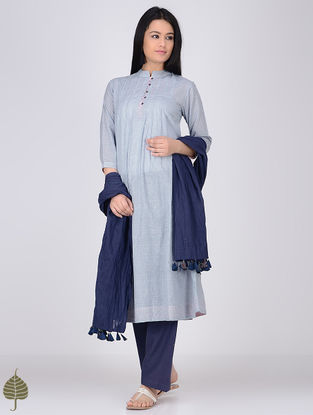 Blue-White Mandarin Collar Handloom Khadi Kurta by Jaypore