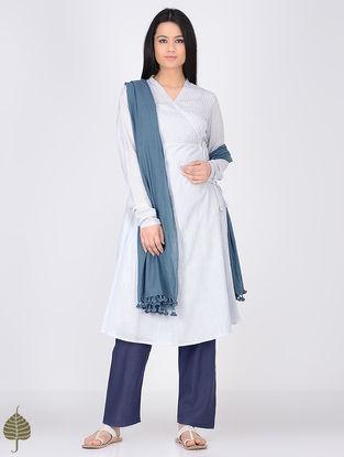 Blue-White Pintuck Handloom Khadi Angrakha by Jaypore