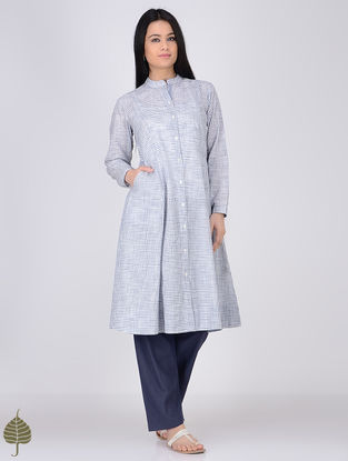 Blue-White Button-down Handloom Khadi Kurta by Jaypore