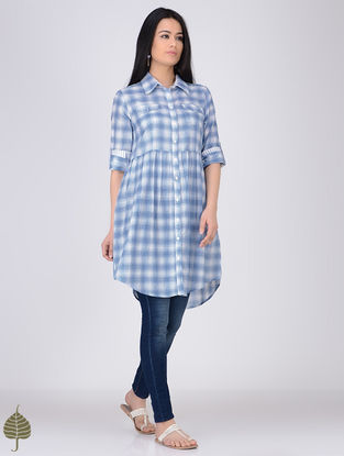 Blue-White Button-down Handloom Khadi Tunic by Jaypore