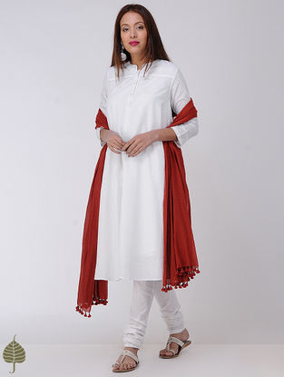 White Cotton Dobby Kurta by Jaypore