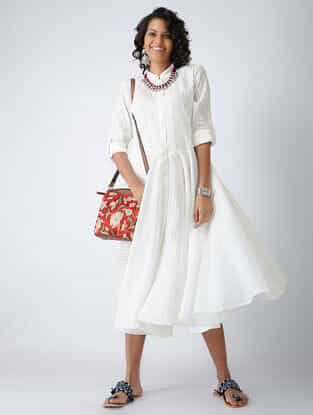 White Front-open Cotton Dobby Dress