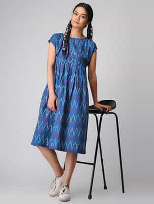 Blue-Ivory Handloom Cotton Ikat Dress by Jaypore