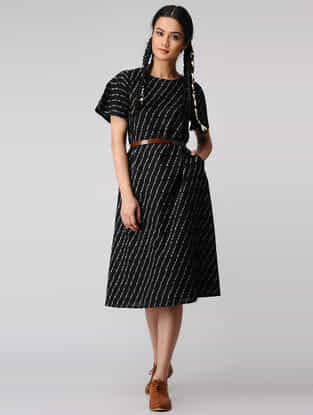 Black-Ivory Handloom Cotton Ikat Dress with Pockets by Jaypore