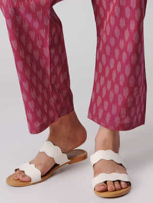 Pink-Ivory Tie-up Waist Handloom Cotton Ikat Pants by Jaypore