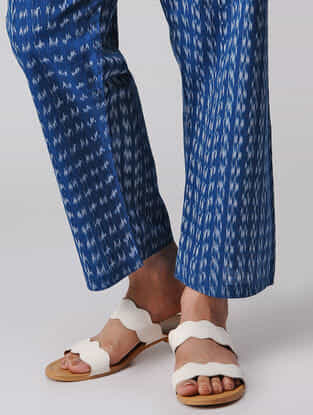 Blue-Ivory Tie-up Waist Handloom Cotton Ikat Pants by Jaypore