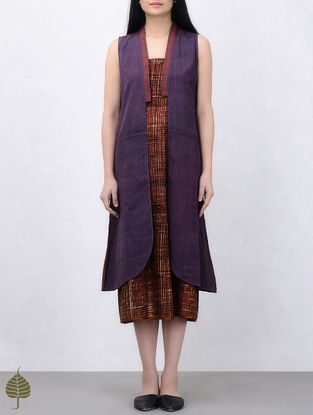 Purple Natural Dyed Handwoven Cotton Jacket by Jaypore