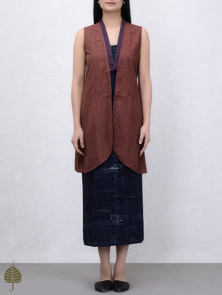 Brown Natural Dyed Handwoven Cotton Jacket by Jaypore