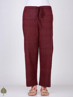 Maroon Tie-up Waist Handloom Cotton Pants by Jaypore