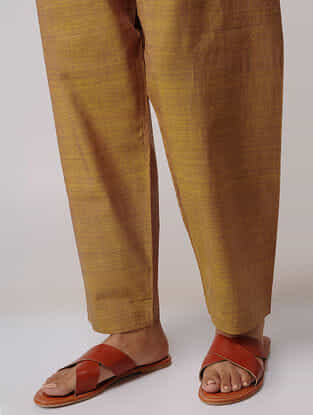 Mustard Tie-up Waist Handloom Cotton Pants by Jaypore