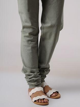 Grey Elasticated Waist Handloom Cotton Churidar by Jaypore