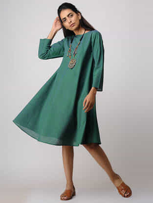 Green Handloom Cotton Dress by Jaypore