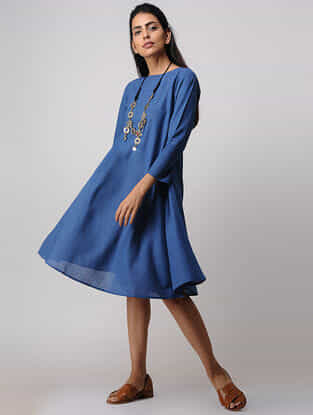 Blue Handloom Cotton Dress by Jaypore