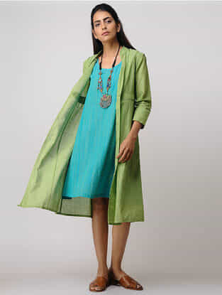 Green-Blue Handloom Cotton Kurta by Jaypore