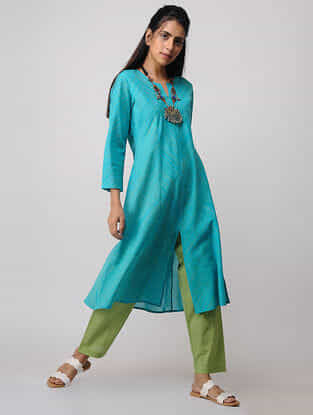 Blue Handloom Cotton Kurta by Jaypore