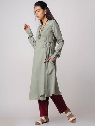 Grey Pintuck Handloom Cotton Angrakha by Jaypore