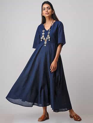 Blue Handloom Cotton Dress by Jaypore