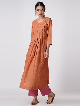 Orange Handloom Cotton Kurta with Pintuck and Cross stitch Detail by Jaypore