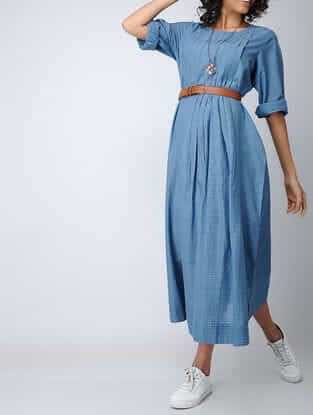 Blue Handloom Cotton Dress with Pintuck and Cross Stitch Detail