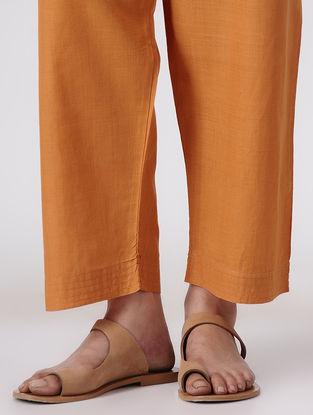 Orange Tie-up Waist Handloom Cotton Pants by Jaypore