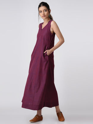 Purple Handloom Cotton Dress with Pockets by Jaypore