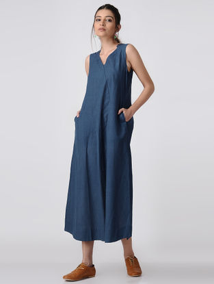 Blue Handloom Cotton Dress with Pockets by Jaypore