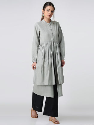 Grey Handloom Cotton Layered Kurta by Jaypore